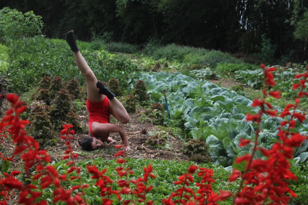 Clarissa Brittes entrelaça yoga e performance ao visitar horta biodinâmica de assentamento para elucidar a questão da Terra
