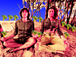dupla meditando na praia cercada de brocolis